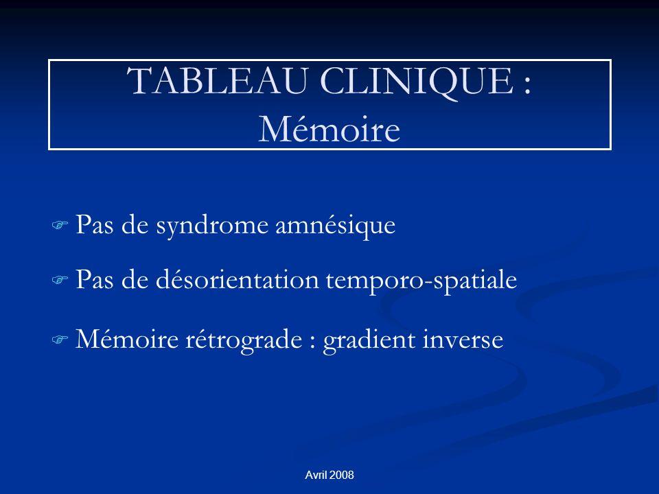 TABLEAU CLINIQUE : Mémoire