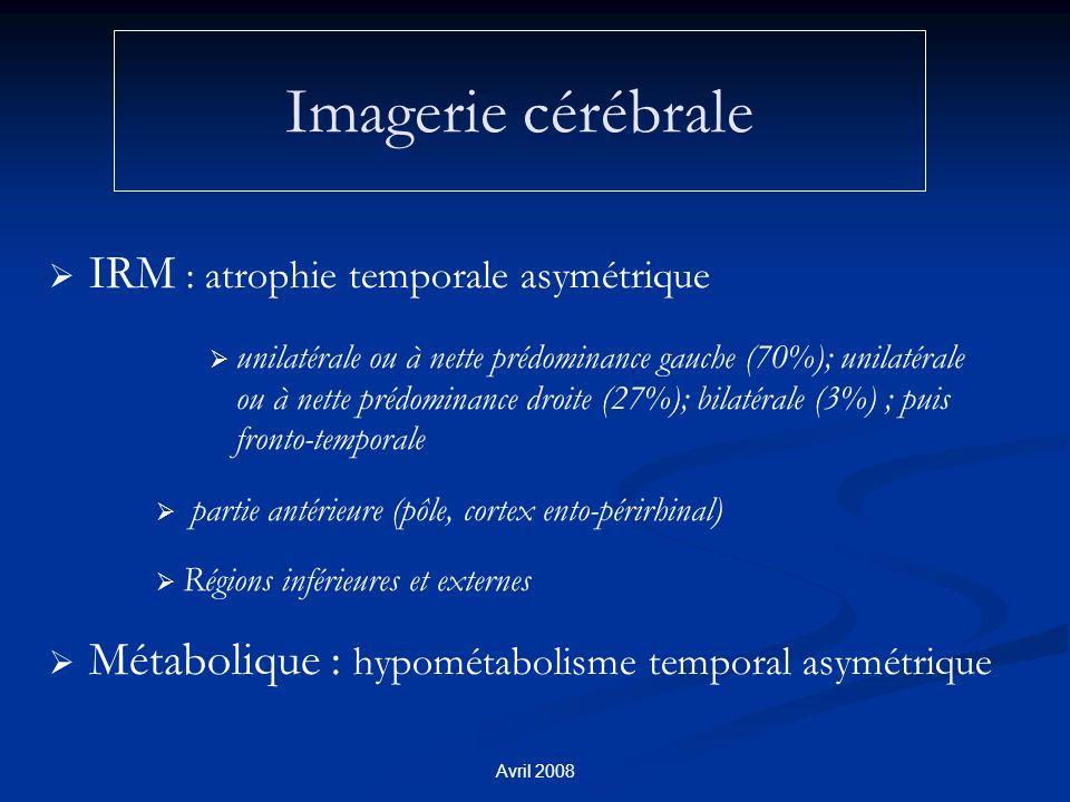 Imagerie cérébrale IRM : atrophie temporale asymétrique