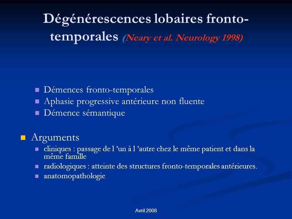 Dégénérescences lobaires fronto-temporales (Neary et al