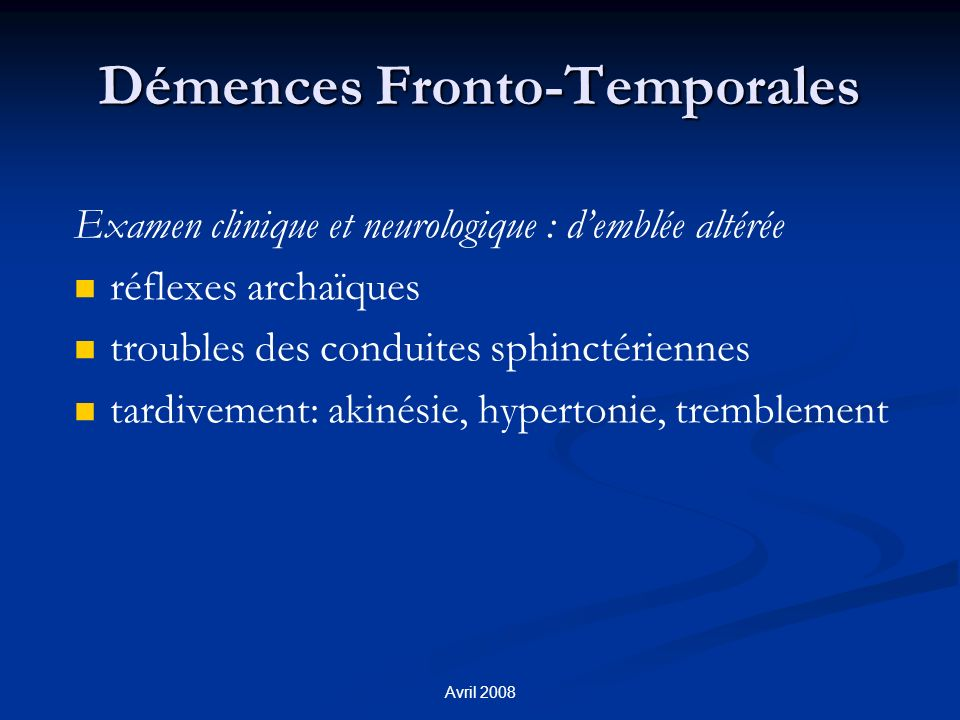 Démences Fronto-Temporales