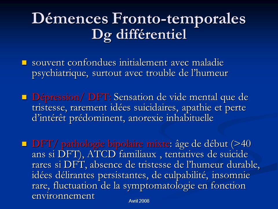 Démences Fronto-temporales Dg différentiel