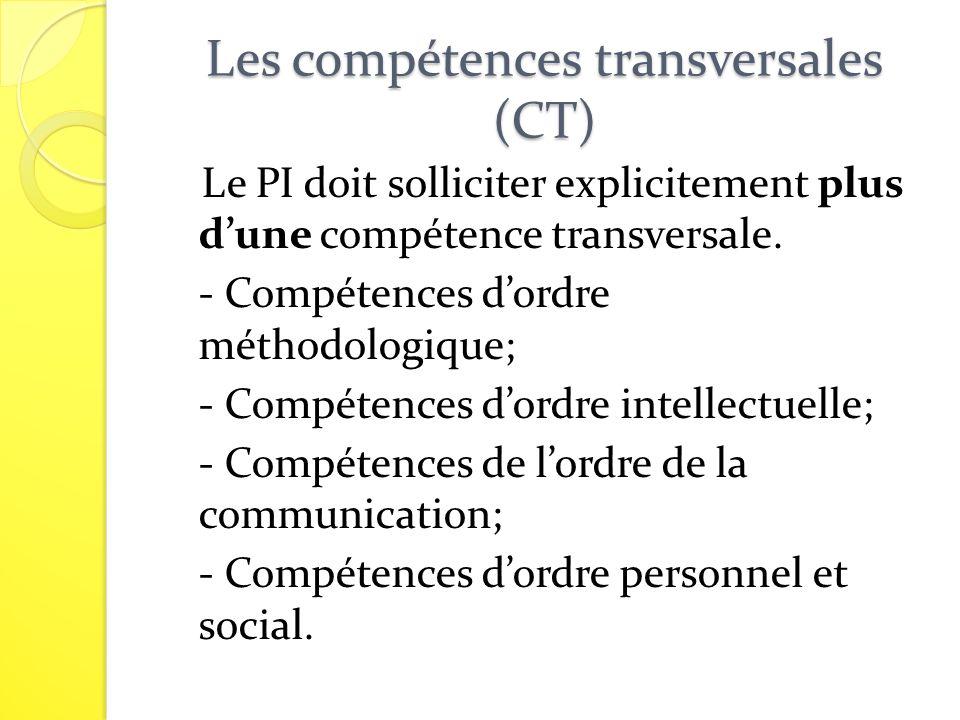 Les compétences transversales (CT)