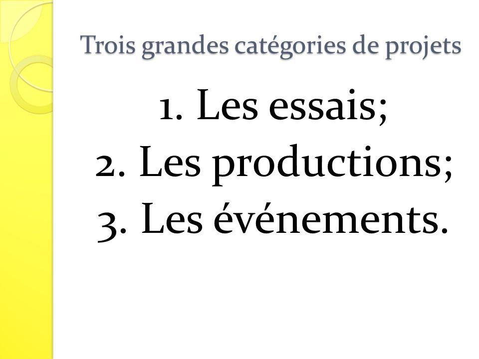 Trois grandes catégories de projets