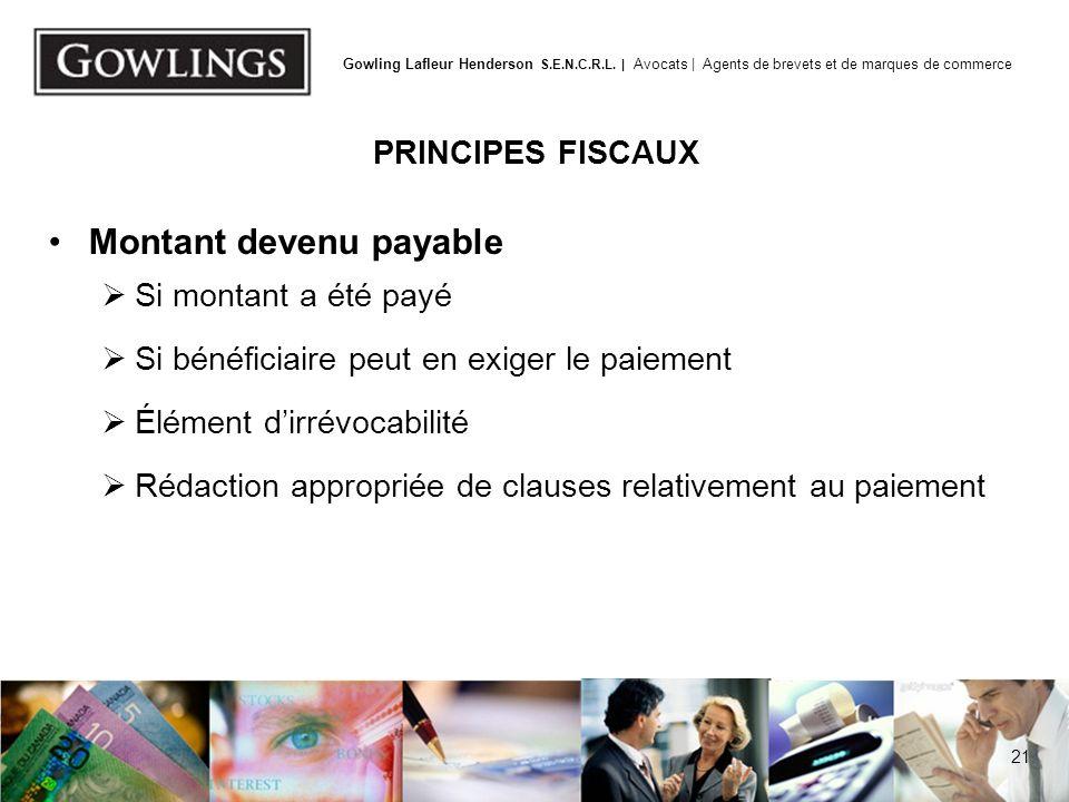 Disposition présumée PRINCIPES FISCAUX