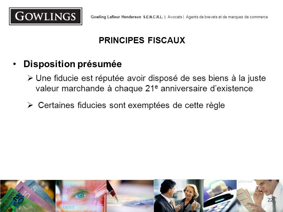 Règle d'attribution PRINCIPES FISCAUX