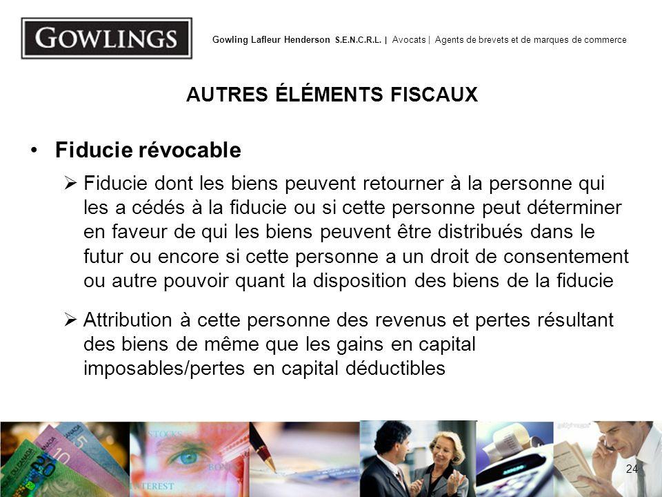 AUTRES ÉLÉMENTS FISCAUX