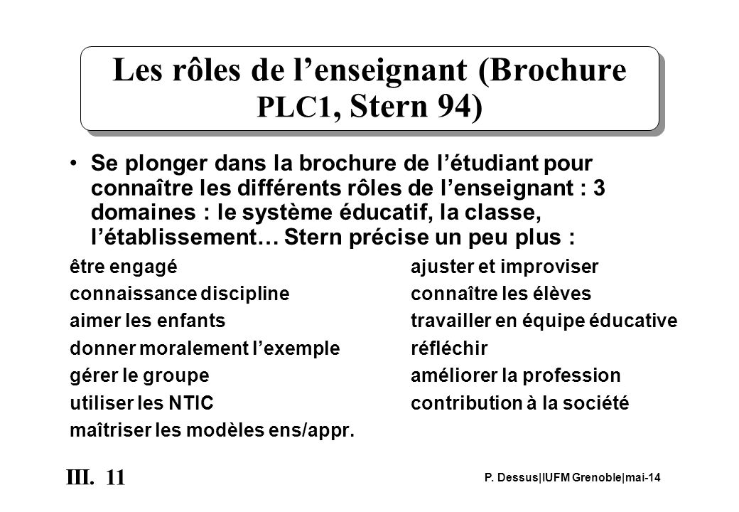 Les rôles de l'enseignant (Brochure PLC1, Stern 94)