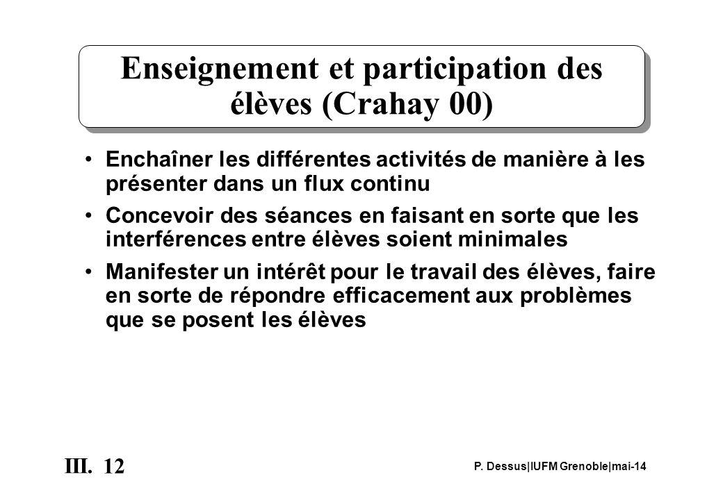 Enseignement et participation des élèves (Crahay 00)