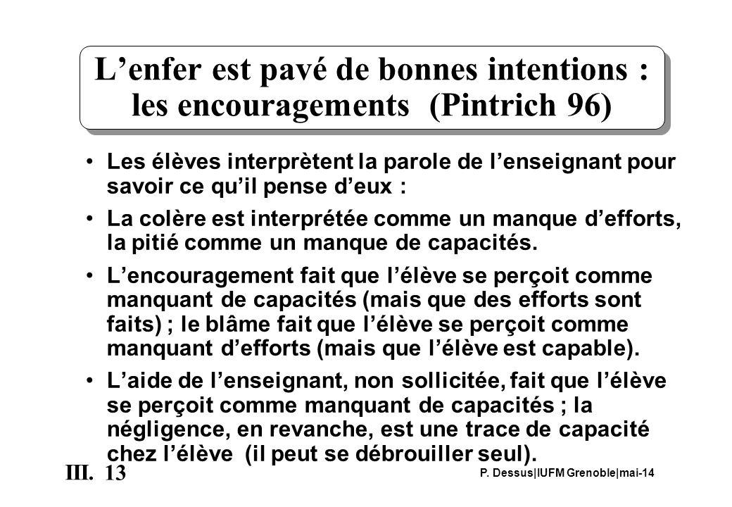 L'enfer est pavé de bonnes intentions : les encouragements (Pintrich 96)