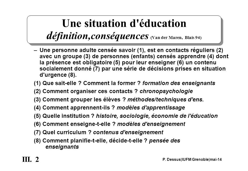 Une situation d éducation définition,conséquences (Van der Maren, Blais 94)