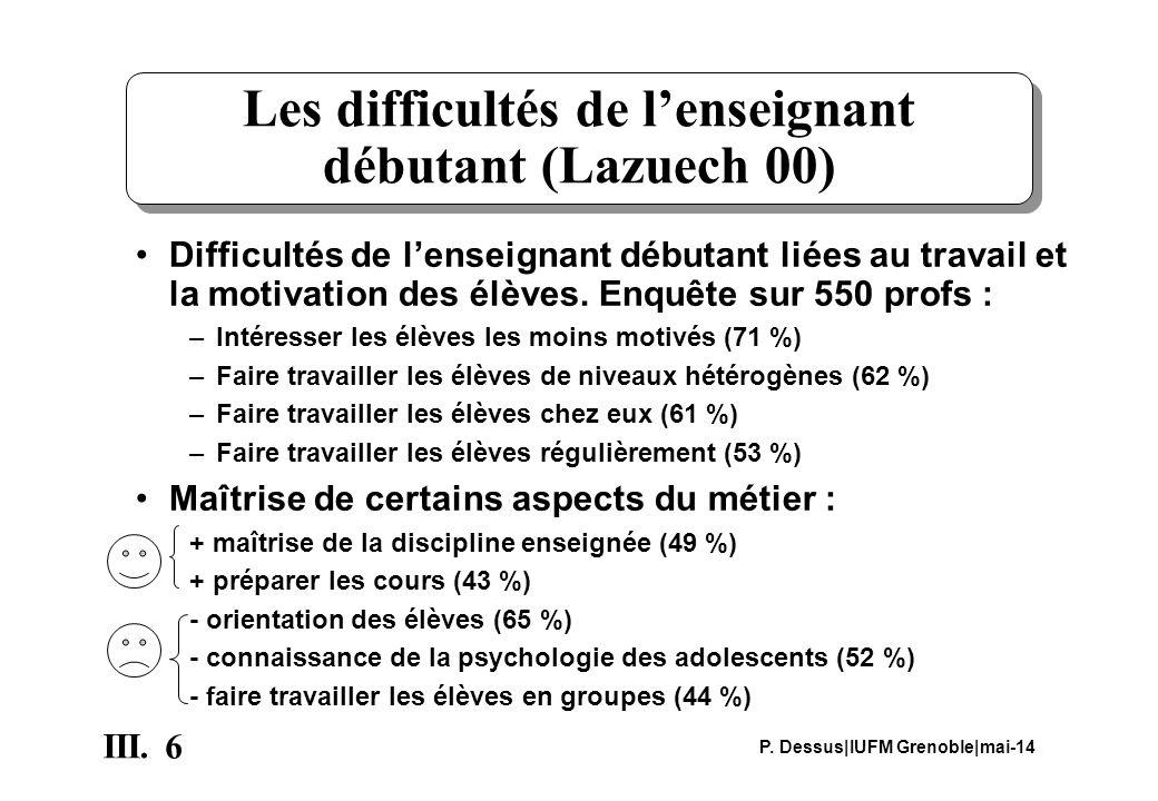 Les difficultés de l'enseignant débutant (Lazuech 00)