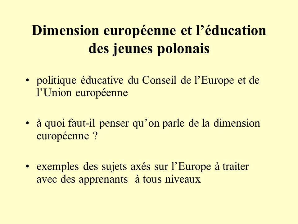 Dimension européenne et l'éducation des jeunes polonais