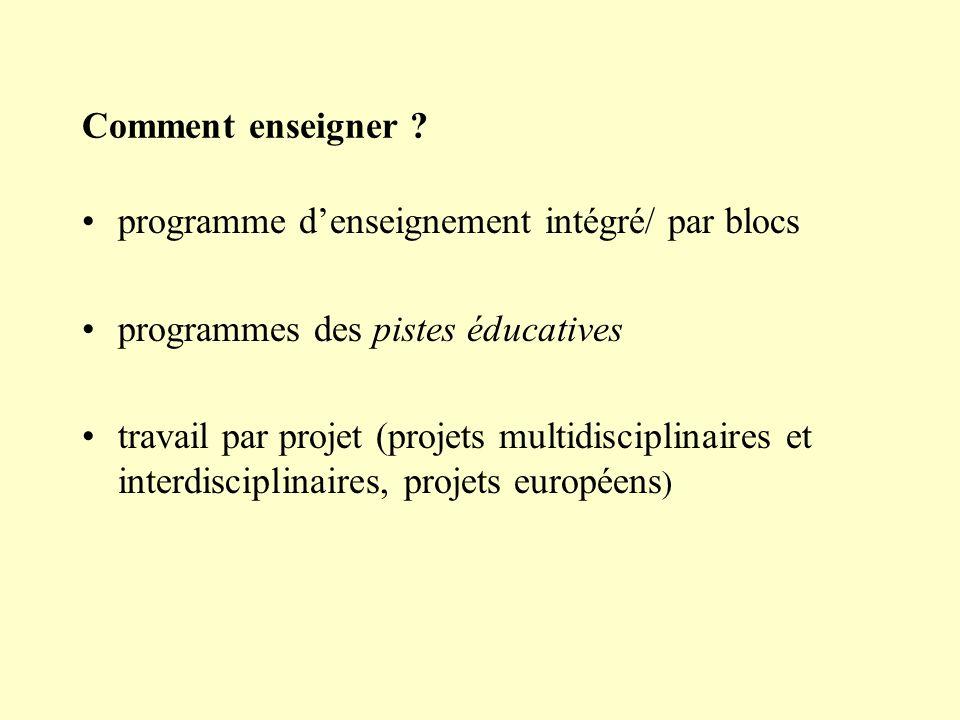 Comment enseigner programme d'enseignement intégré/ par blocs. programmes des pistes éducatives.
