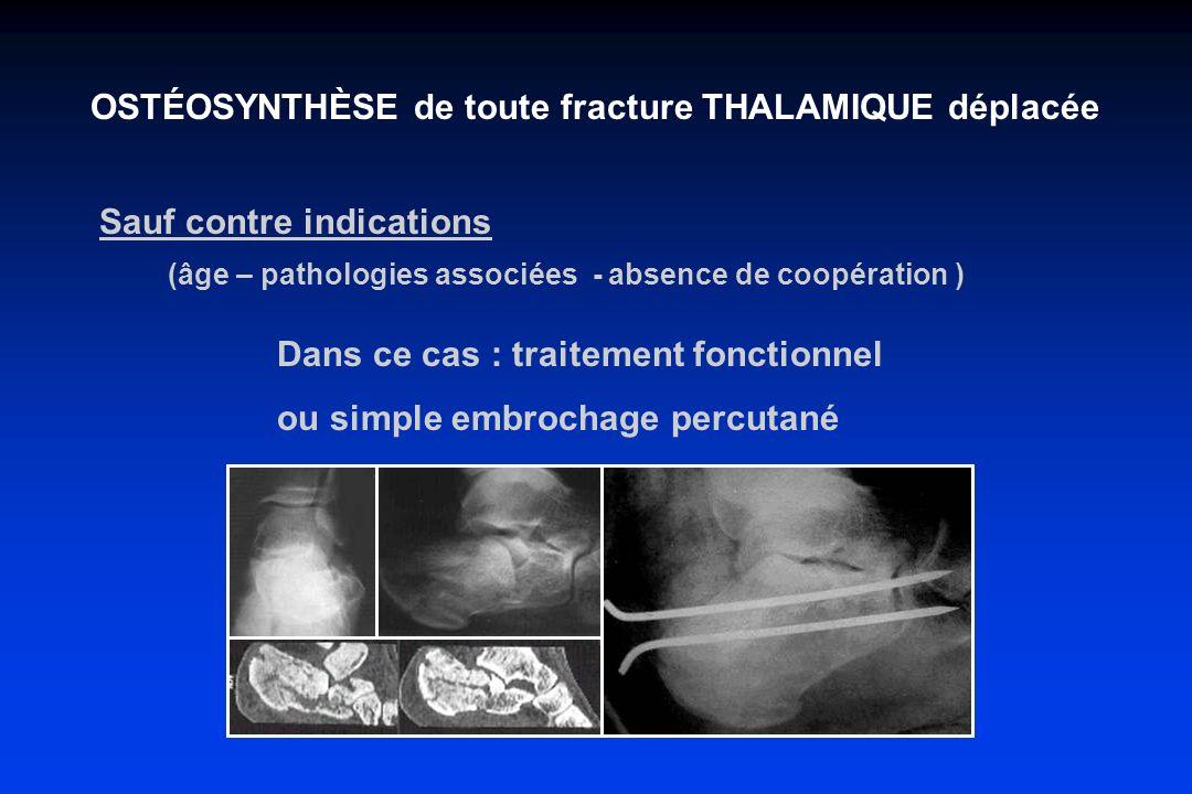 OSTÉOSYNTHÈSE de toute fracture THALAMIQUE déplacée