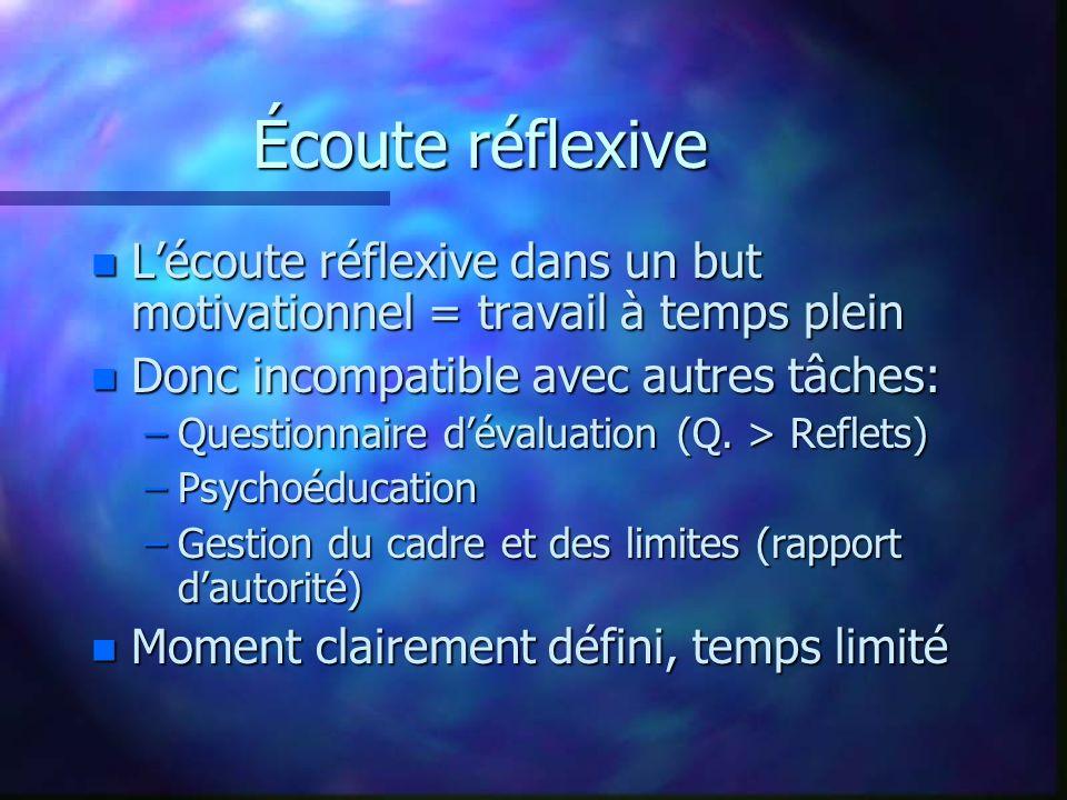 Écoute réflexive L'écoute réflexive dans un but motivationnel = travail à temps plein. Donc incompatible avec autres tâches: