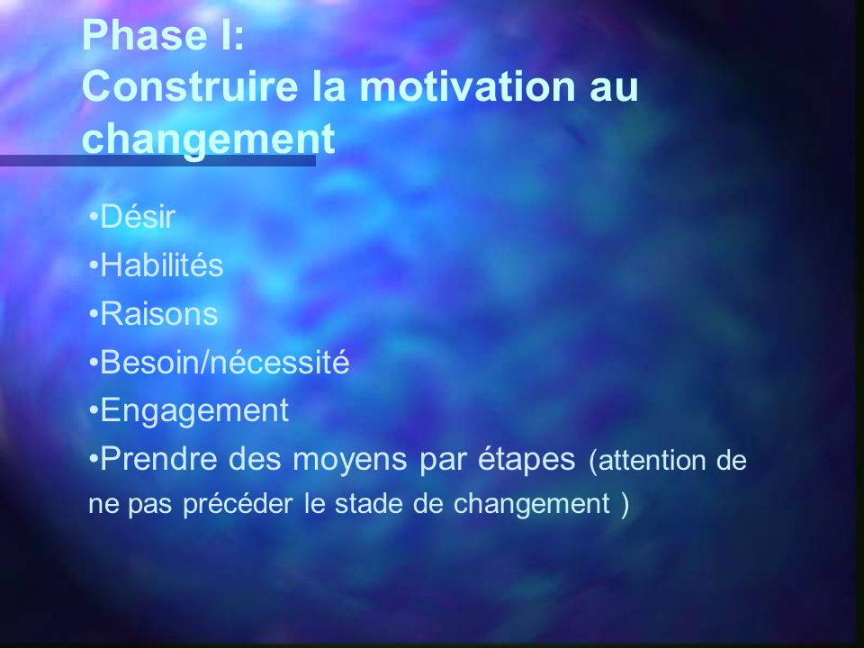 Construire la motivation au changement