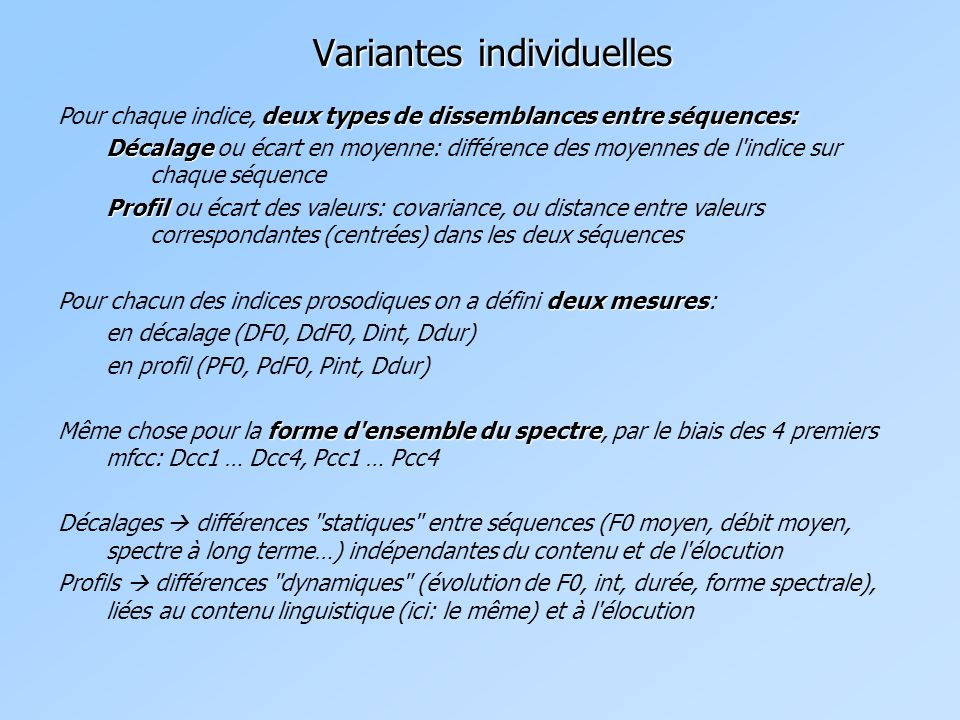 Variantes individuelles