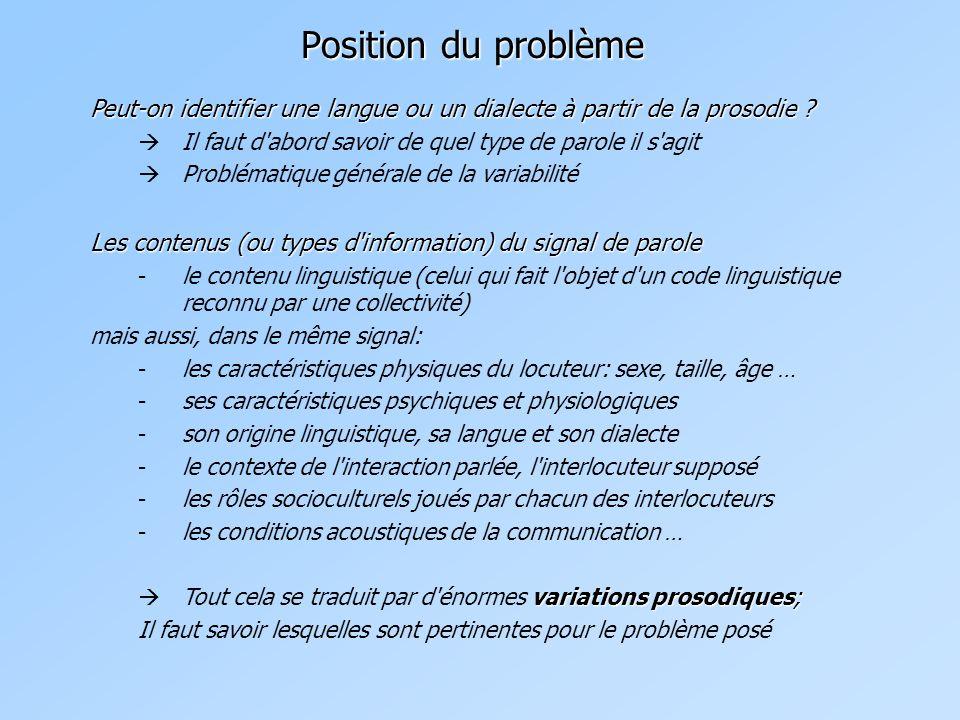 Position du problème Peut-on identifier une langue ou un dialecte à partir de la prosodie Il faut d abord savoir de quel type de parole il s agit.