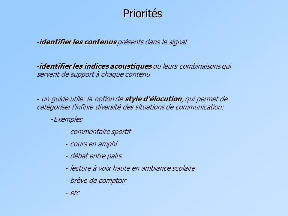 Priorités identifier les contenus présents dans le signal