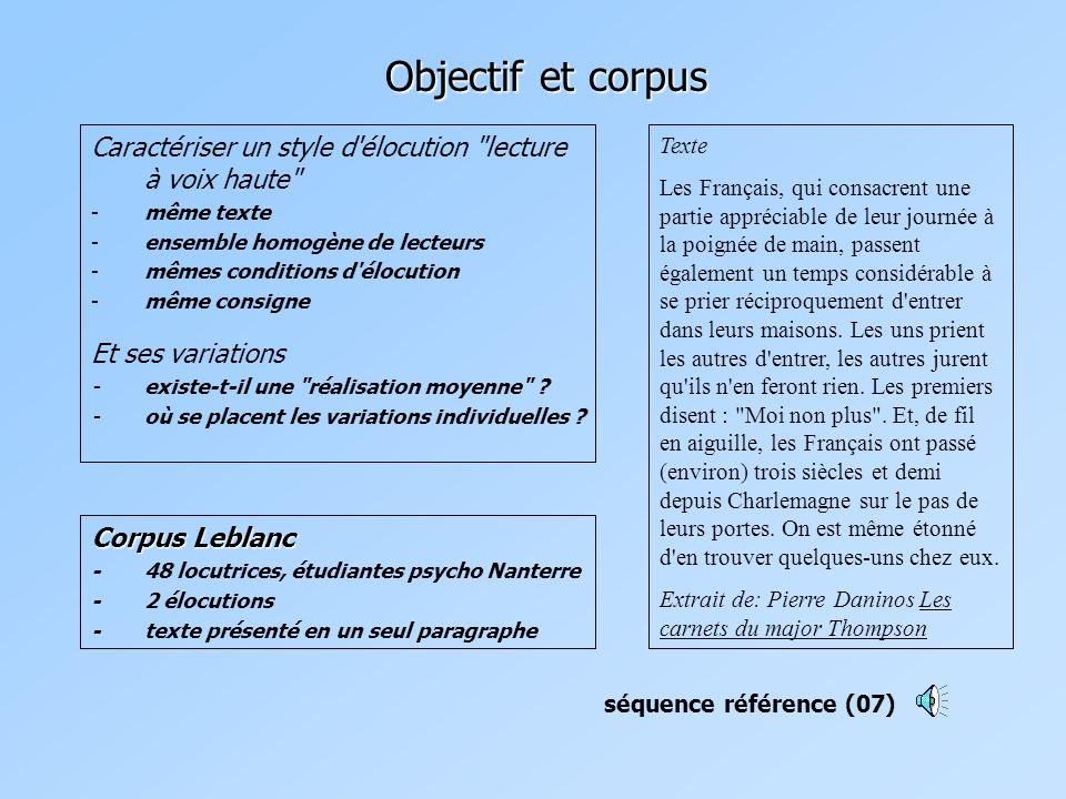 Objectif et corpus Caractériser un style d élocution lecture à voix haute même texte. ensemble homogène de lecteurs.