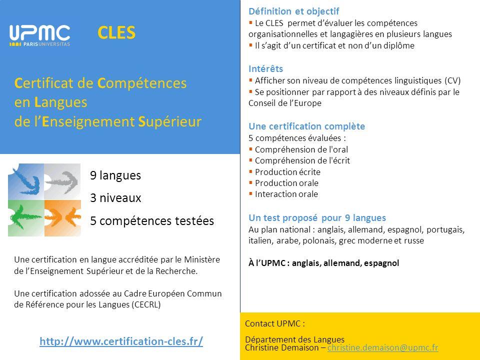 certificat de comp u00e9tences en langues de l u2019enseignement sup u00e9rieur