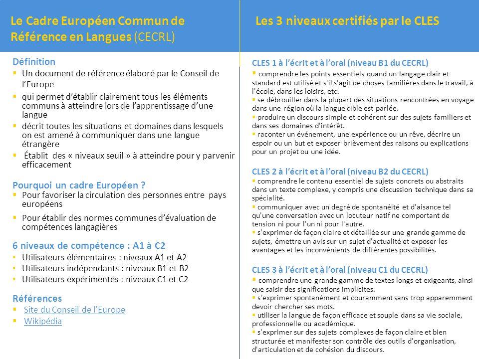 Le Cadre Européen Commun de Référence en Langues (CECRL)