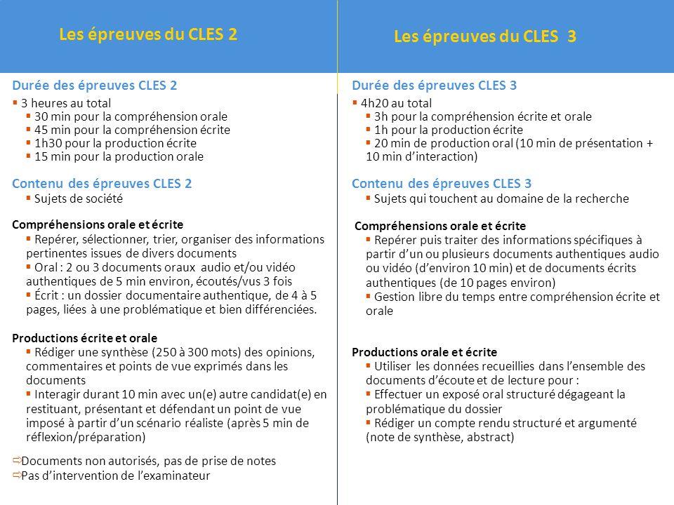 Les épreuves du CLES 3 Les épreuves du CLES 2