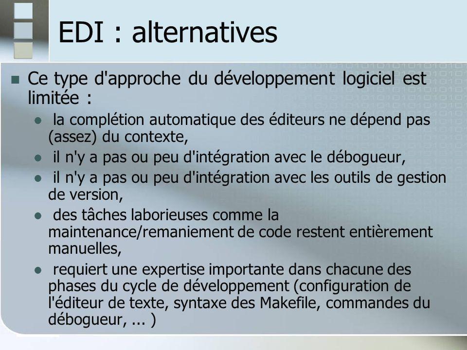 EDI : alternatives Ce type d approche du développement logiciel est limitée :