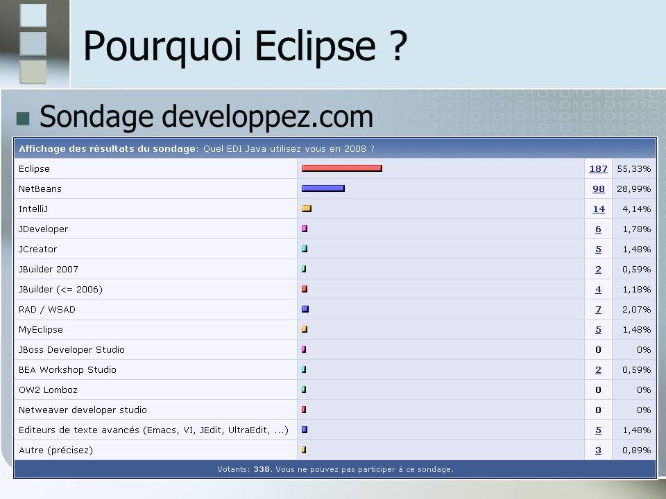 Pourquoi Eclipse Sondage developpez.com