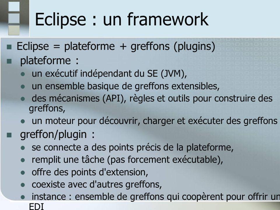 Eclipse : un framework Eclipse = plateforme + greffons (plugins)