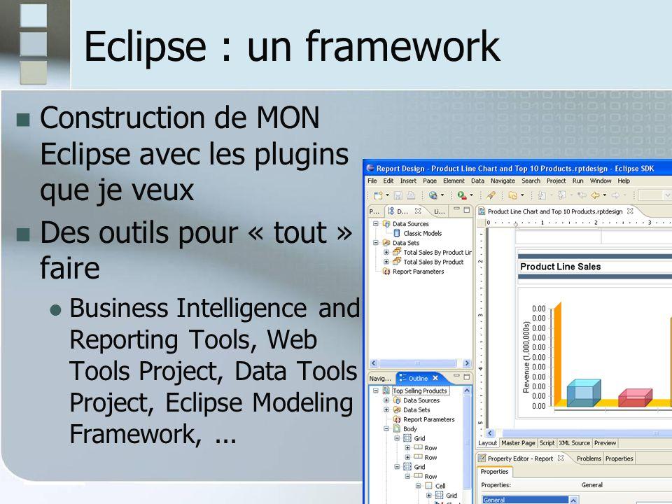 Eclipse : un framework Construction de MON Eclipse avec les plugins que je veux. Des outils pour « tout » faire.