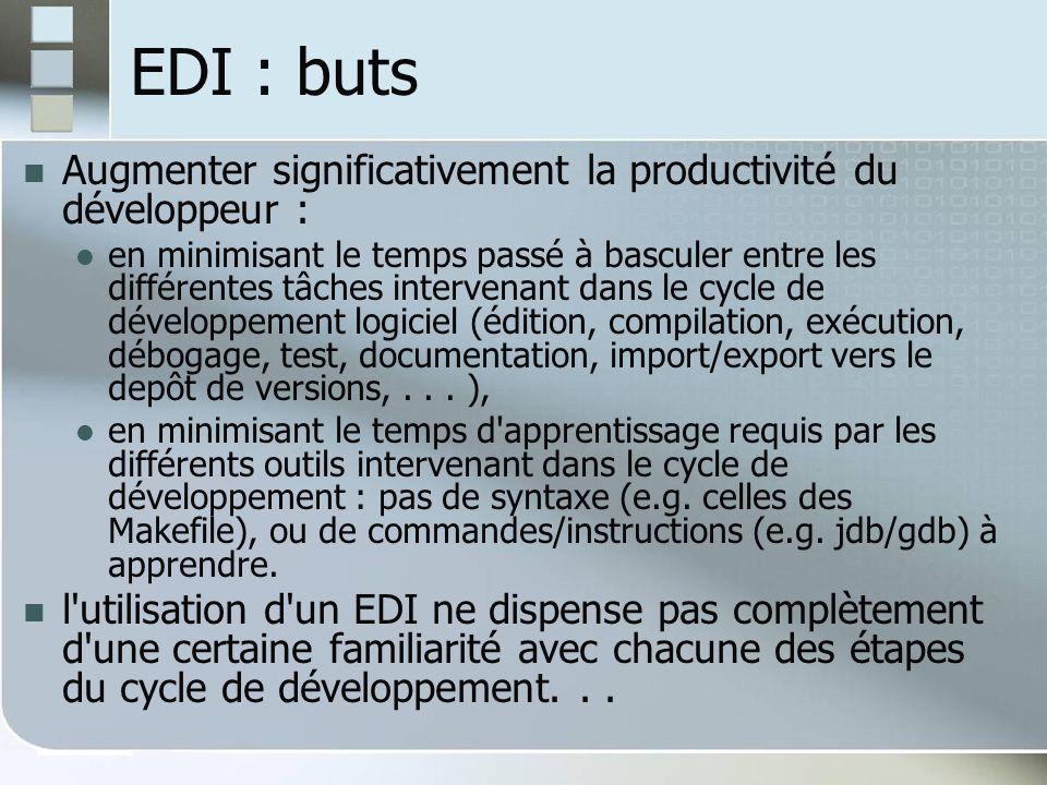 EDI : buts Augmenter significativement la productivité du développeur :