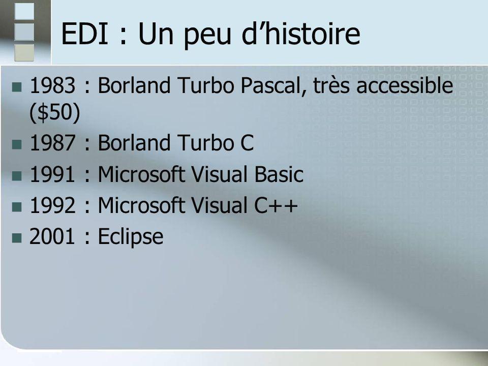 EDI : Un peu d'histoire 1983 : Borland Turbo Pascal, très accessible ($50) 1987 : Borland Turbo C.