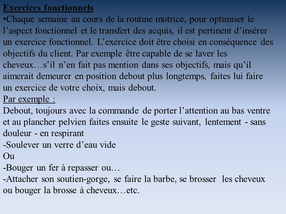 Exercices fonctionnels