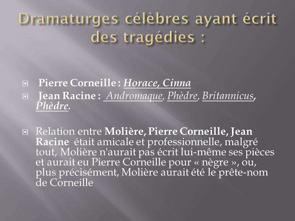 Dramaturges célèbres ayant écrit des tragédies :