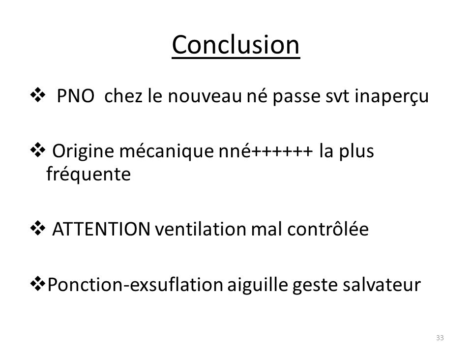 Conclusion PNO chez le nouveau né passe svt inaperçu