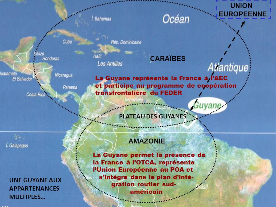 UNION EUROPEENNE CARAÏBES PLATEAU DES GUYANES AMAZONIE UNE GUYANE AUX
