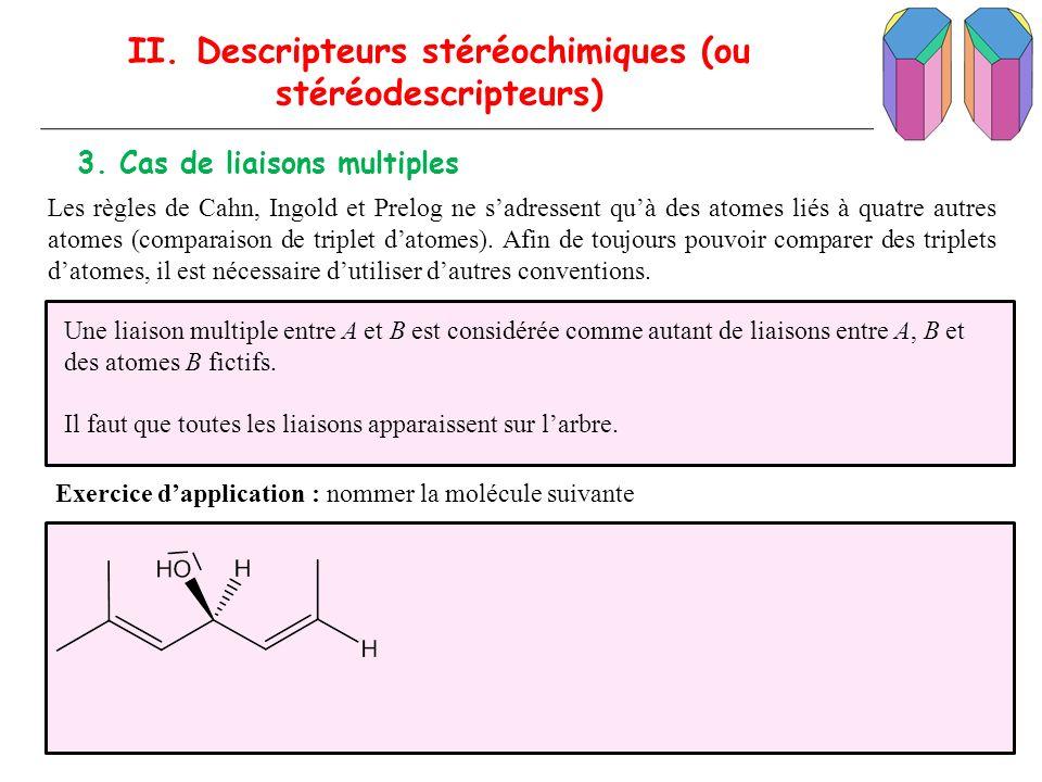 II. Descripteurs stéréochimiques (ou stéréodescripteurs)