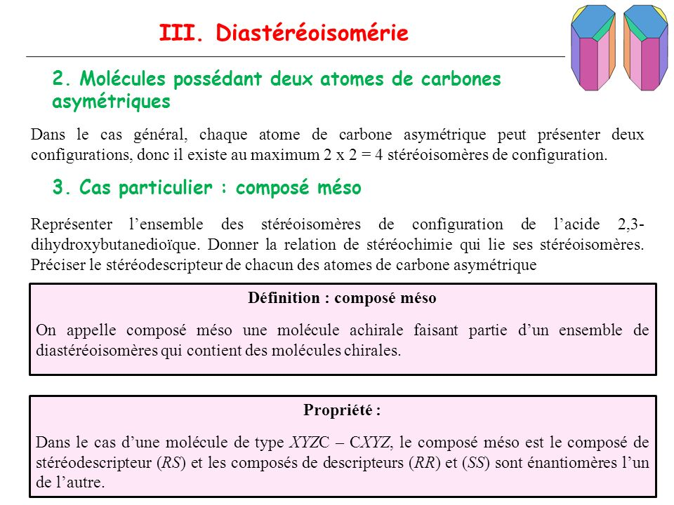 III. Diastéréoisomérie Définition : composé méso