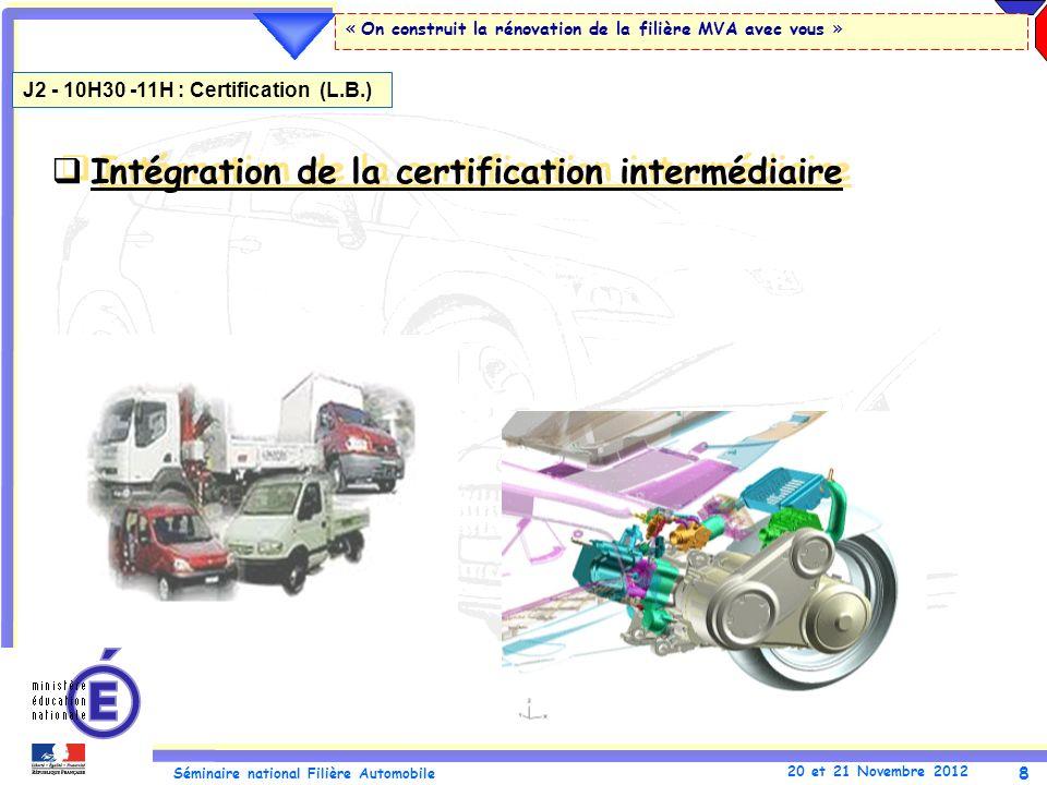 Intégration de la certification intermédiaire