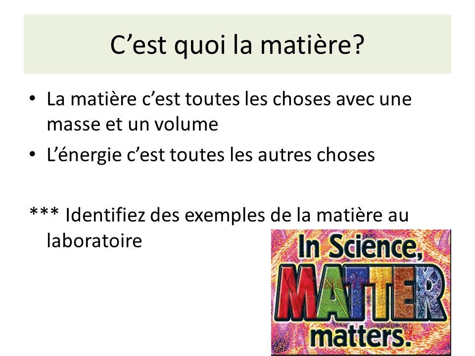 C'est quoi la matière La matière c'est toutes les choses avec une masse et un volume. L'énergie c'est toutes les autres choses.