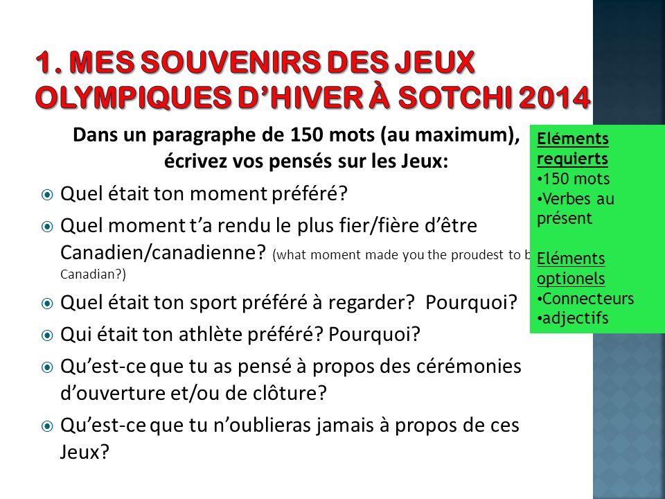 1. Mes souvenirs des Jeux Olympiques d'Hiver à Sotchi 2014