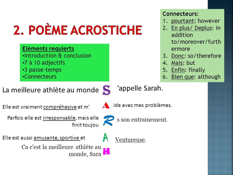 R S 2. poème acrostiche A H 'appelle Sarah.