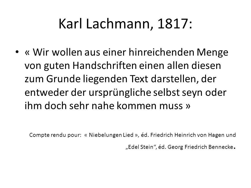 Karl Lachmann, 1817:
