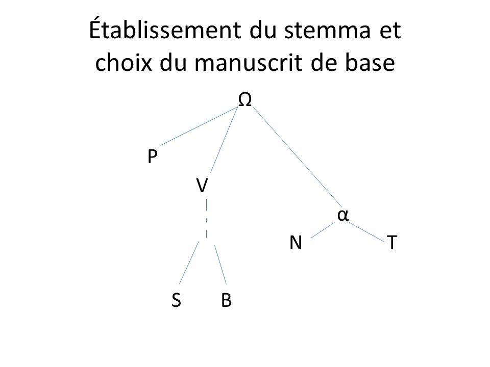 Établissement du stemma et choix du manuscrit de base