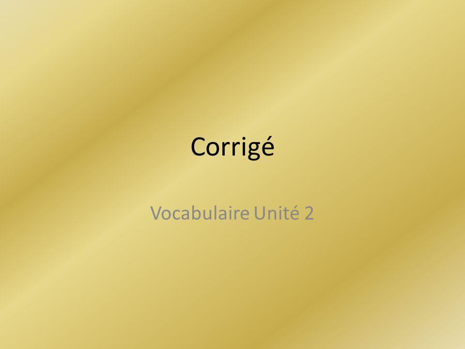 Corrigé Vocabulaire Unité 2