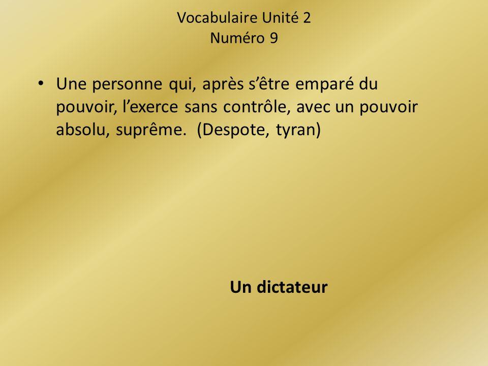 Vocabulaire Unité 2 Numéro 9