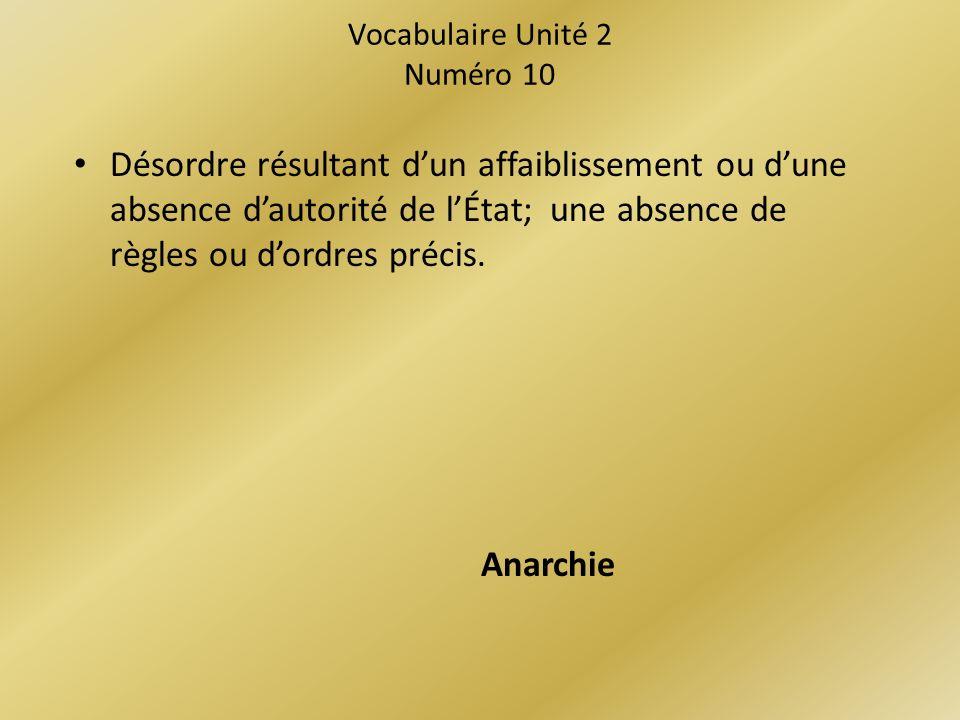 Vocabulaire Unité 2 Numéro 10