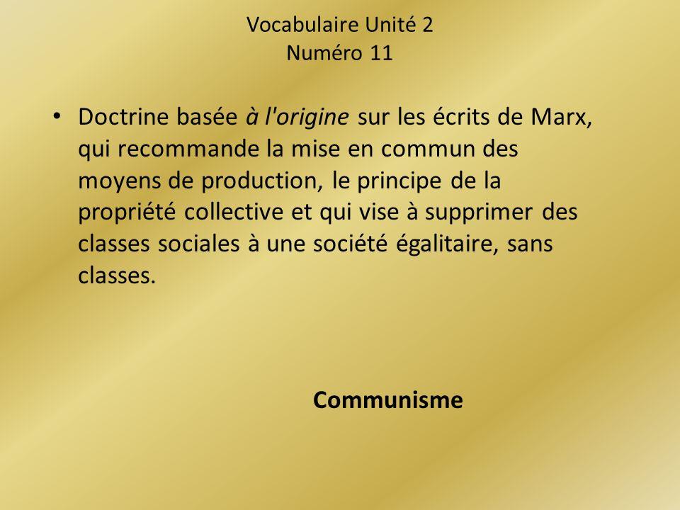 Vocabulaire Unité 2 Numéro 11