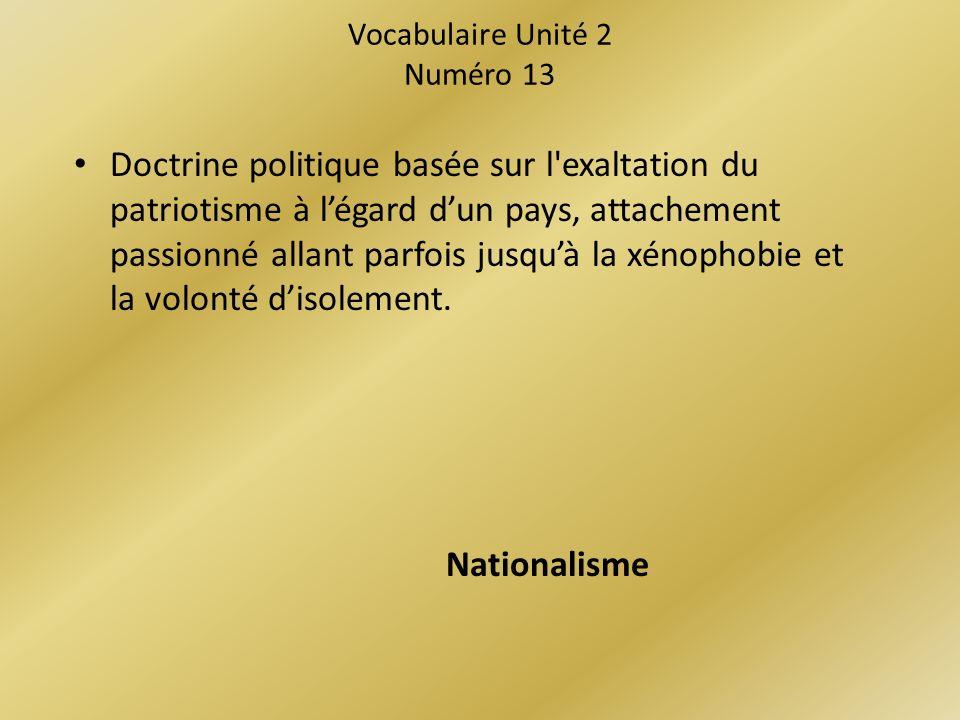 Vocabulaire Unité 2 Numéro 13